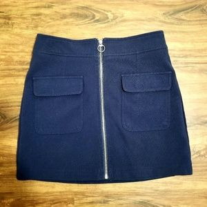 Chic Navy Blue Mini Skirt with POCKETS and Zipper